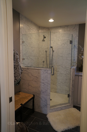 Bathroom Gallery   Lang s Kitchen   Bath Bathroom design in Yardley  PA with Carrerra marble tiled  angled shower