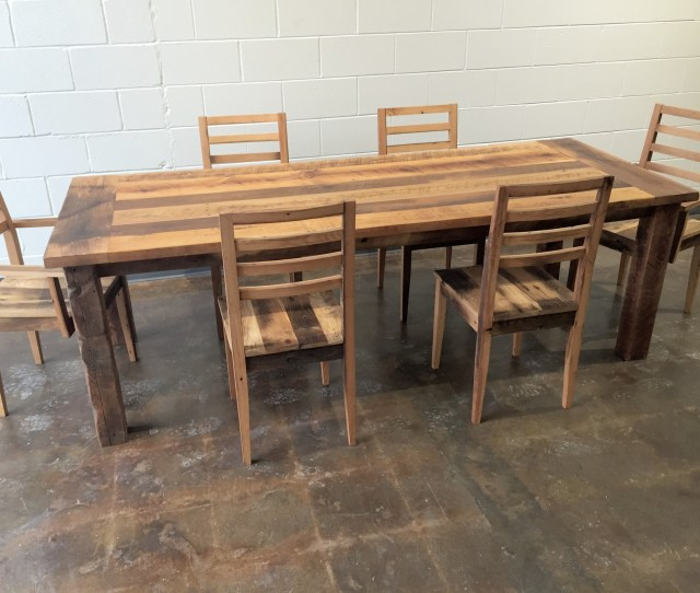 Reclaimed Wood Farmhouse Extendable Dining Table Smooth Finish