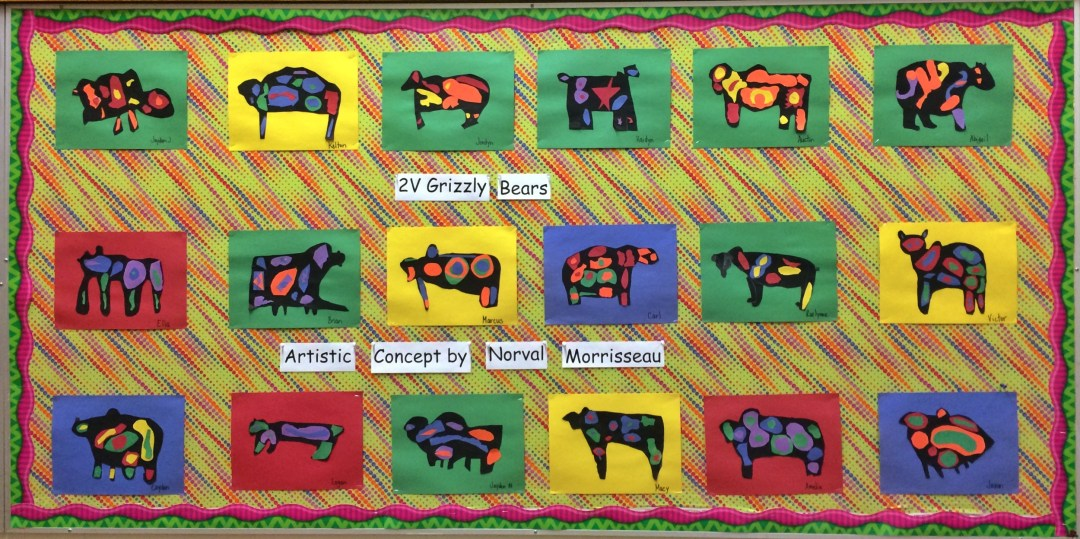 We've got a bit of a Bear themed unit going on and these collages were inspired by First Nations artist Norval Morrisseau. If you'd like to see them enlarged you can click here (password protected).