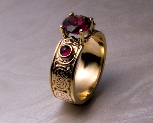 8th To 9th Century Celtic Wedding Band With Garnets