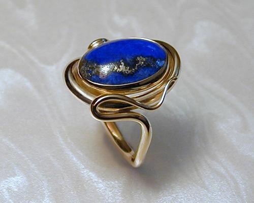 Free Form Ring With Lapis Lazuli Metamorphosis Jewelry