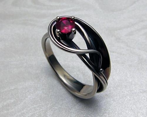 Fluid Freeform Blue Sapphire Engagement Ring Design