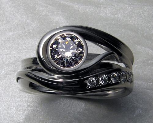 Unique Free Form Engagement Ring Set Design Your Own