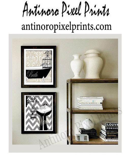 bathroom art —antinoro pixel prints