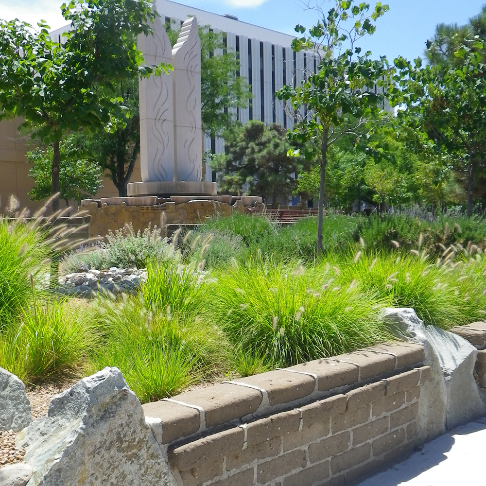 Sculpture and water feature at Martineztown Park.