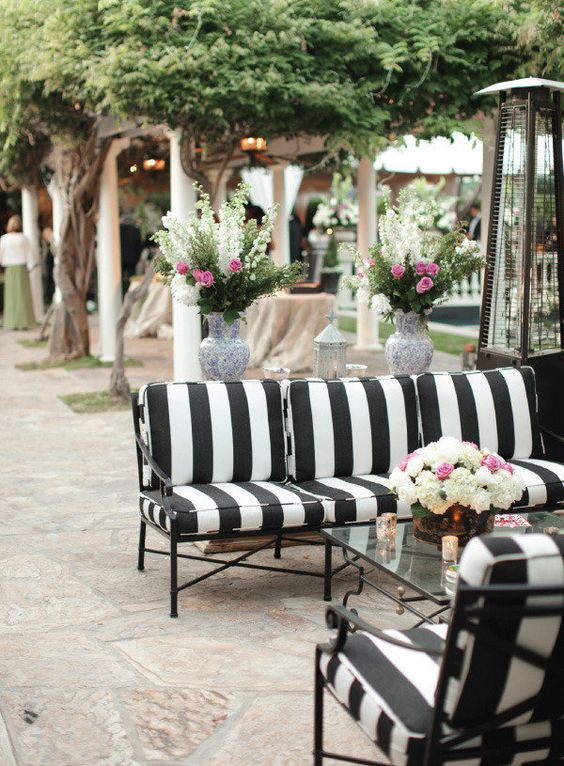 Outdoor chic: black and white stripes + One Kings Lane ... on Black And White Backyard Decor  id=89404