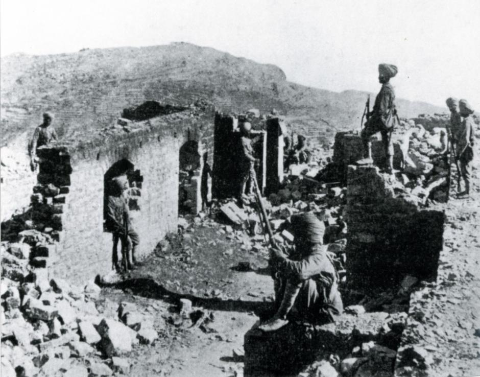 The burnt out remains of Saragarhi. Fort Lockhart is on the skyline, left centre.