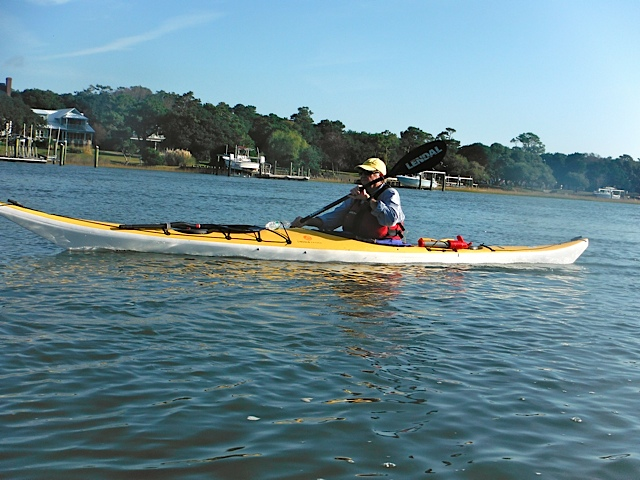Nick Dyslin paddling the Isle Au Haut in coastal waters off Beaufort, NC.