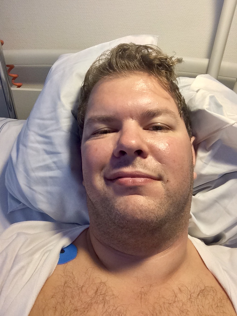 Post-op shot. In pain, but feeling a lot better. Funny how that can happen.