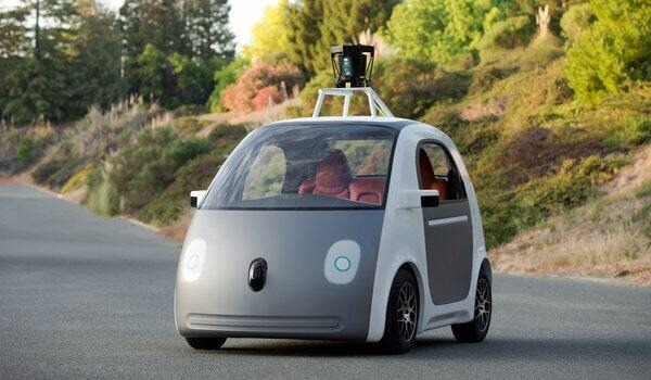 Google's new car contains only a panic button, no brakes nor a steering wheel. And a touch of uber. The car would be summoned with a smartphone application. It would pick up a passenger and automatically drive to a destination selected on a smartphone app without any human intervention.
