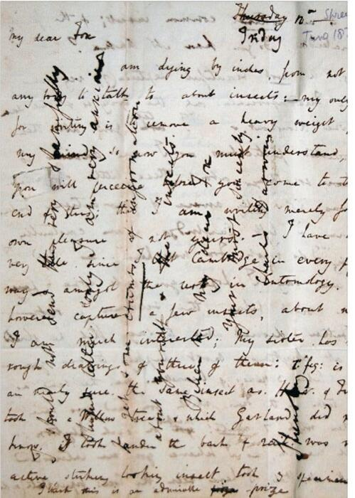 Charles Darwin's cross-writing, a technique for saving writing paper. 1828 -@History_Pics