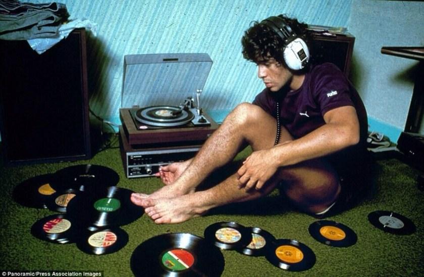 Diego Maradona listening to records, 1980