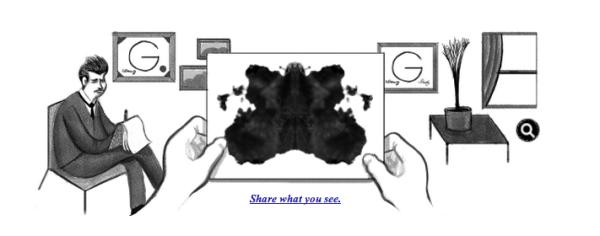 Today's Google Doodle remembersHermann Rorschach.  #inkblottest