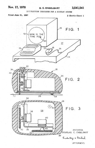 "Engelbart's patent design for the first computer mouse.   He saw the future before everyone else, not to mention the collaborative Internet.  He just called it ""bootstrapping."" The importance of Dr. Engelbart's networking ideas was underscored in 1969, when his Augment NLS system became the application for which the forerunner of today's Internet was created. RIP."