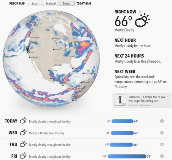 Best looking weather app out there. Also the most useful information. Forecast.io