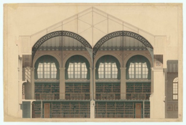 Henri Labrouste: Structure Brought to Light: His two magisterial glass-and-iron reading rooms in Paris, the Bibliothèque Sainte-Geneviève (1838–50) and the Bibliothèque nationale (1859–75), gave form to the idea of the modern library as a temple of knowledge and as a space for contemplation. The record stores and book stores may dry up but libraries will live on forever as a place for deep thinking and research.