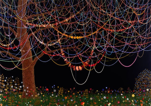 """Hang Over"" (2005) by Fred Tomaselli: the art world's ""drug guy."""