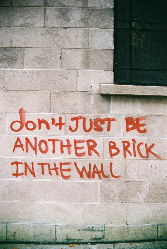 Don't just be another brick in the wall. Join the collective but retain the individual.