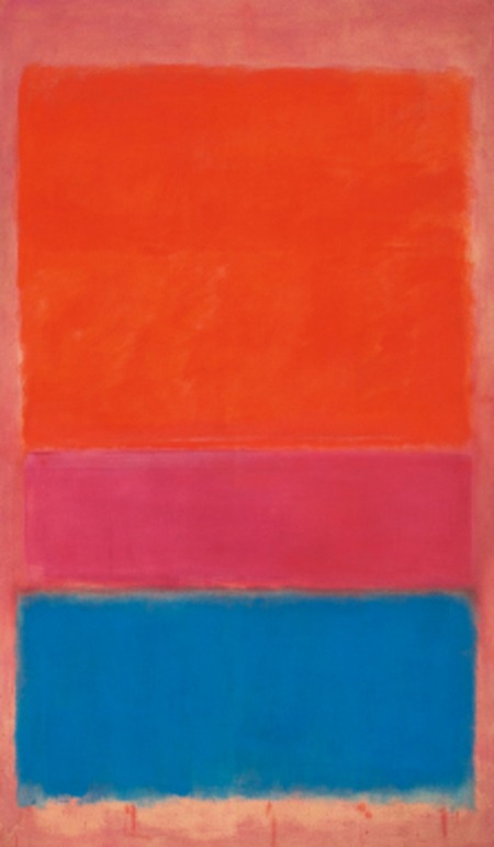 "Mark Rothko's ""No. 1 (Royal Red and Blue),"" 1954 Sold for $75.1 million on Tuesday at a Sotheby's auction. Sotheby's sold $375 million in value that evening, its highest ever. I wonder if the rich actually appreciate the art or the machismo that goes with it. Art is best appreciated by the public, ideally a museum, not bought for the single viewing pleasure of a coterie."