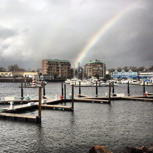 Tuesday morning #Sandy: Rainbow (no filter) (at The Ponus Yacht Club)