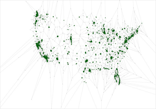 Voronoi diagram of all Starbucks in the United States:   More than 80% of the U.S. population, or a whopping 250,000,000 people, lives within 20 miles of a Starbucks. And over 30% of the U.S. population lives within a mile of one. But I'm more interested in this stat since Starbucks essentially ubiquitizes Wifi access, especially in New York City. if Starbucks had Wi-Fi reception that covered 5 miles, more than half the U.S. would have free Wi-Fi!""