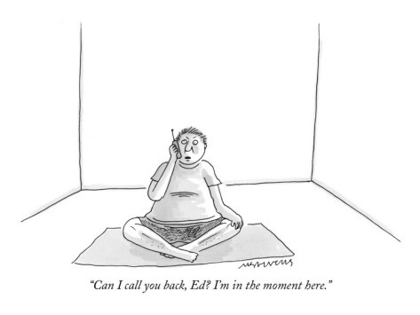 A reminder to put the phone away when you meditate. New Yorker