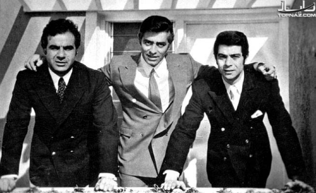 L to r: NAsser Malek Moti'i, Fardin and BEhrouz Vosoughi, the three biggest stars of Pre-revolutionary Iranian Cinema