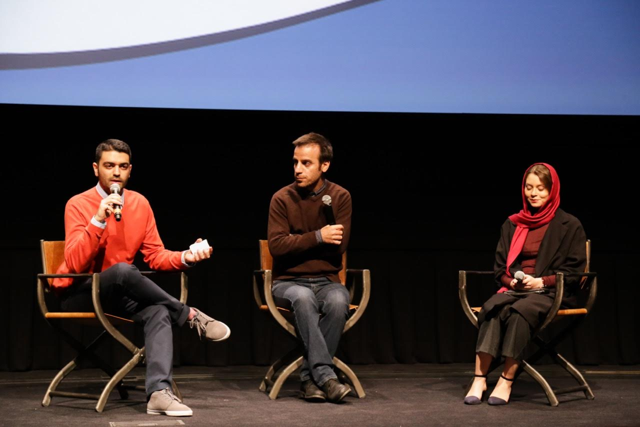 Amir Soltani (Left) during an on stage interview with director Shahram mokri and actress shadi karamroudi