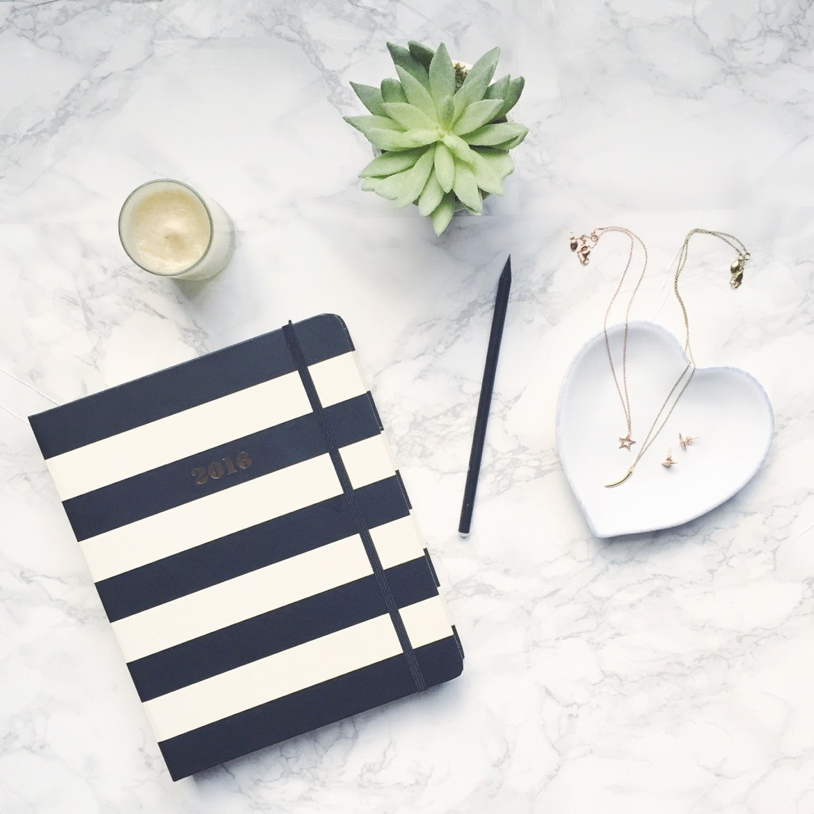 Arianna Trapani's Desk with Kate Spade Diary & Missoma jewellery.