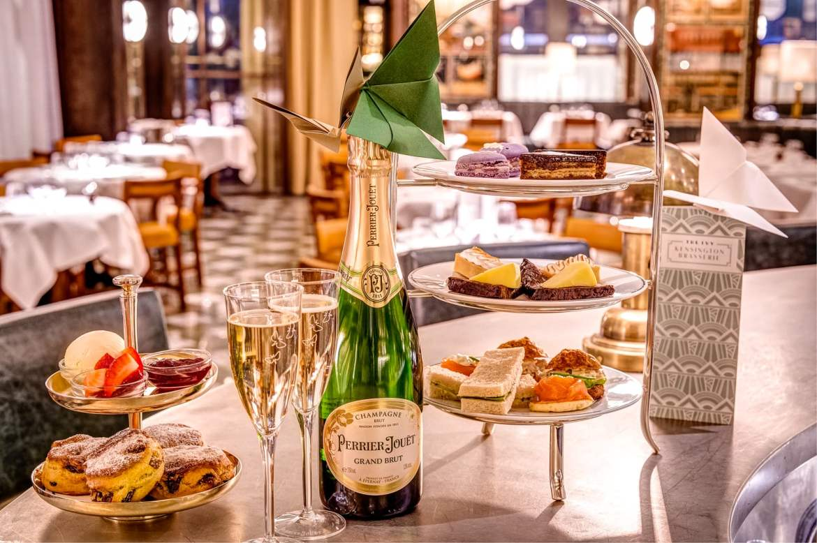 """In the lead up to Valentine's Day, The Ivy Kensington Brasserie has partnered with prominent champagne house Perrier-Jouët to create """"Butterfly Kisses"""" – the ultimate romantic Champagne Afternoon Tea."""