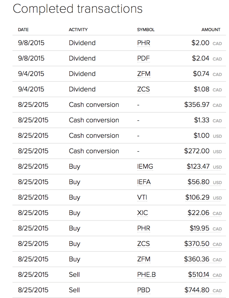 Transactions for August and September
