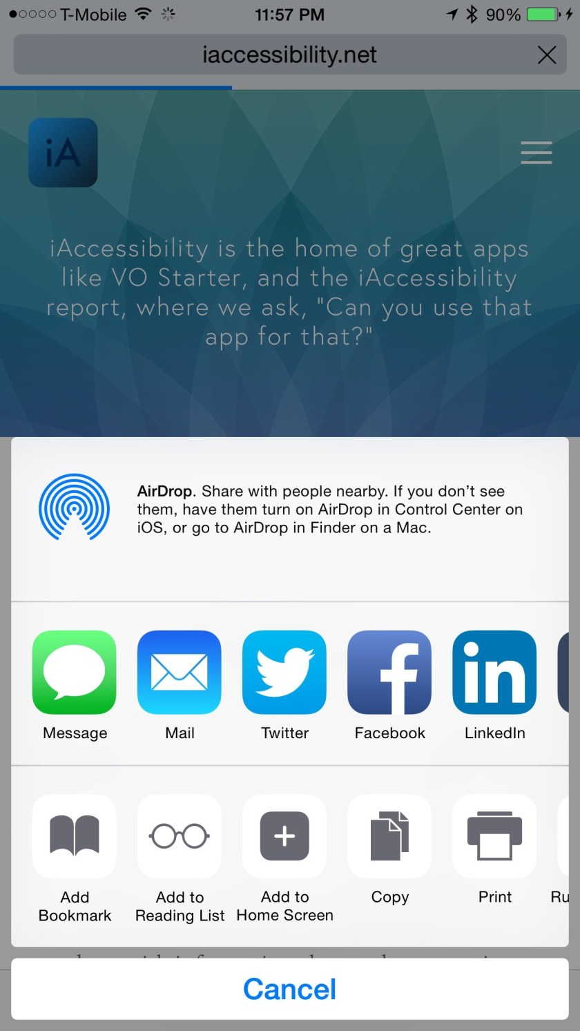 Picture 1 showing a share screen.