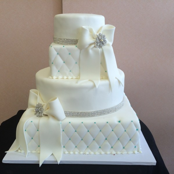 Contemporary Wedding Cakes     Sal   Dom s Pastry Shop 61 4 Tier in Rolled Fondant with Quilted Square Tiers  Round Tiers with  Swarovski Crystals
