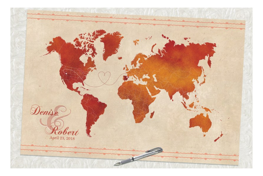 i     The Here and There Shop orange and red world map  wedding guestbook map  signed guestbook   guestbook alternative