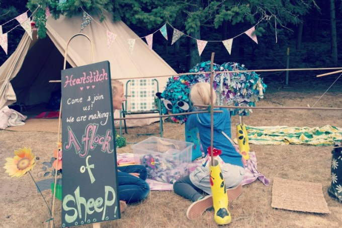 Making a flock of sheep at Latitude Festival 2013