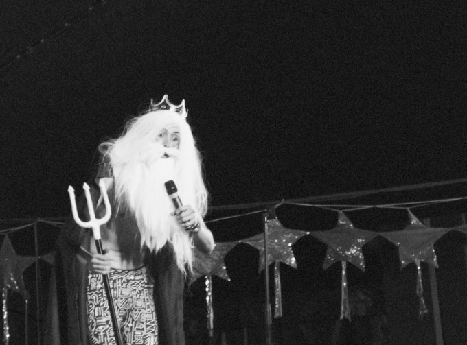 Eric Lampeart as Poseidon at Bestival 2013 in the Comedy Tent