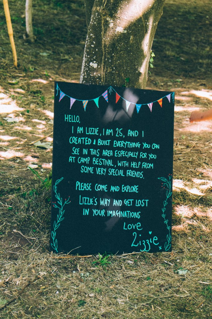 LIZZIES' WAY welcome sign, CAMP BESTIVAL 2015