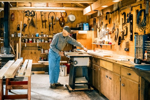 My father in his workshop in northern Minnesota, building a temporary pine countertop to test the fit of the actual hardwood countertop he's planning on making. My computer is as organized as his workshop. Unfortunately for both of us, my workshop is as organized as his computer.