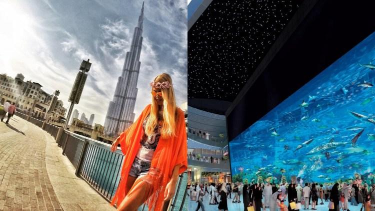 Vinstri:Dubai Mall er staðsett fyrir framan Burj Khalifa. Hægri: hið víðfræga fiskabúr