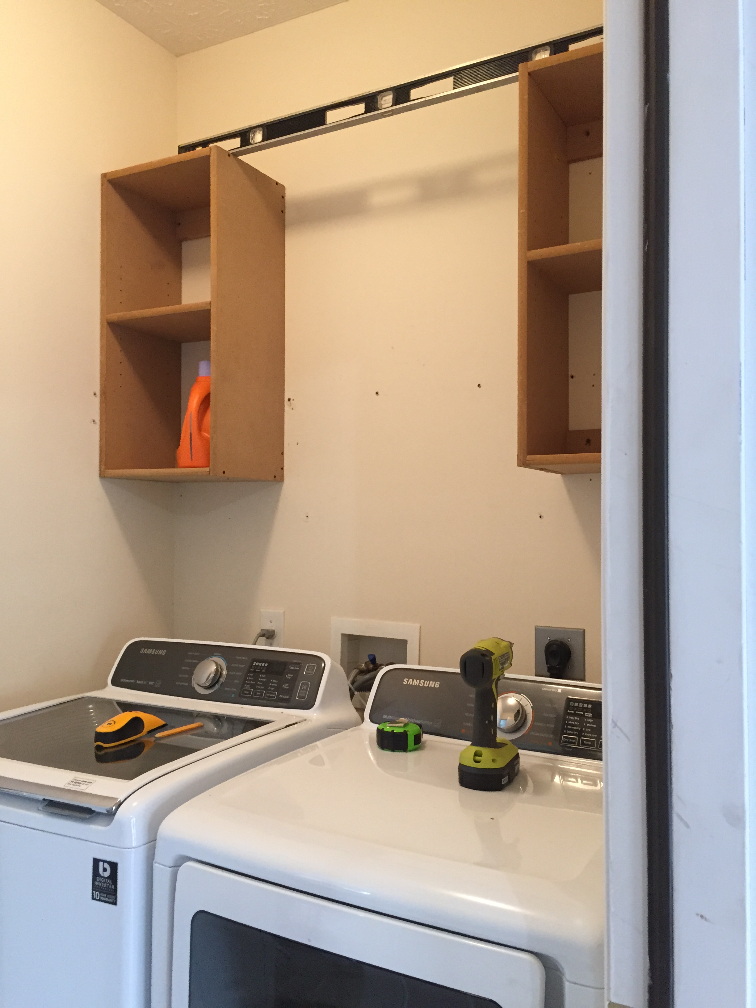 How To Build Upper Cabinets - Laundry Room Makeover ... on Laundry Cabinets  id=87794