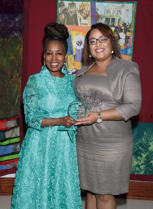 Attorney and Leading Lady LaToya Bell with the speaker, Pastor Debra Morton                              photo credit: KC's portraits Ken Riddick