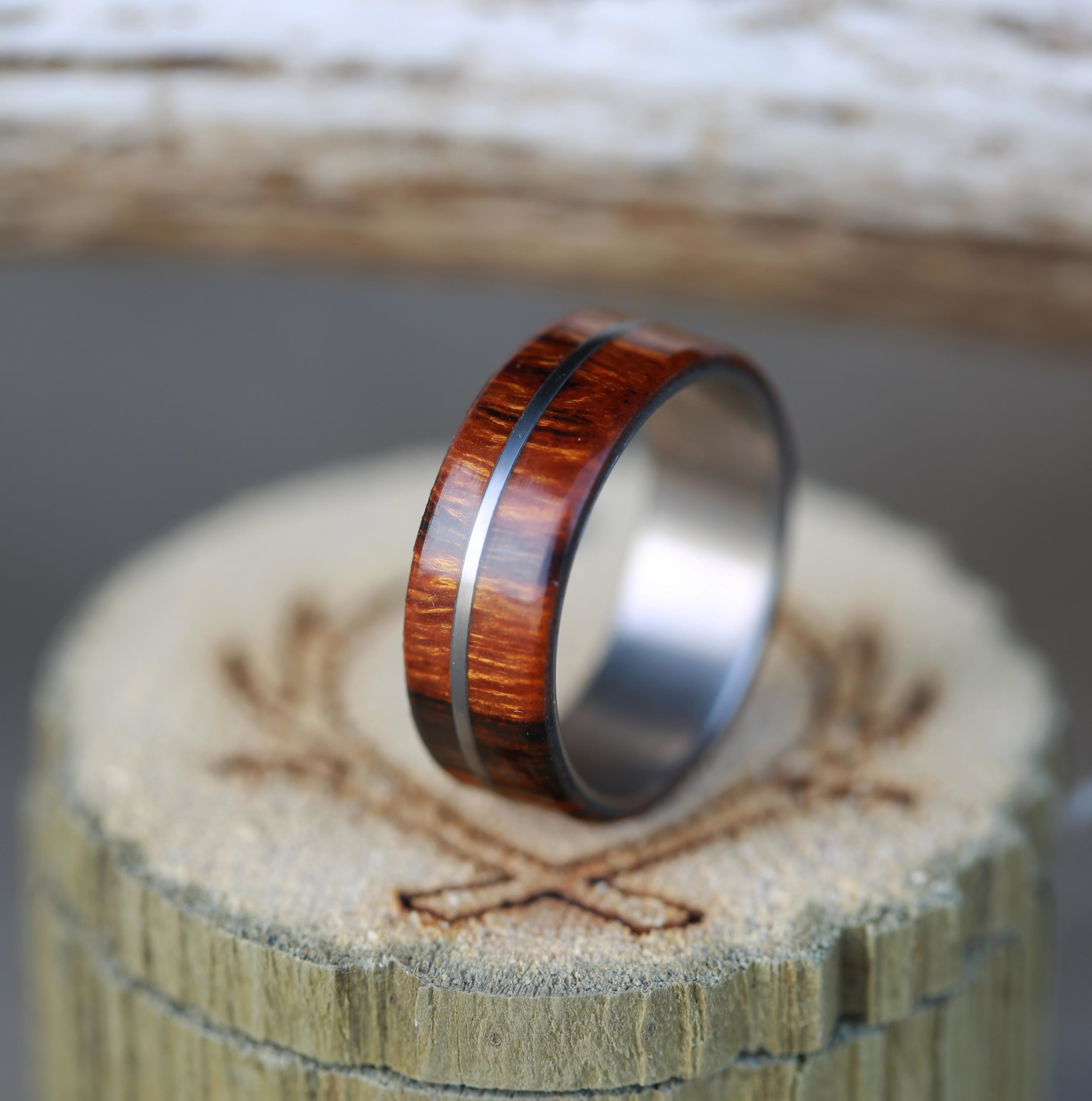 MENS WOOD WEDDING BAND WITH METAL INLAY Available In