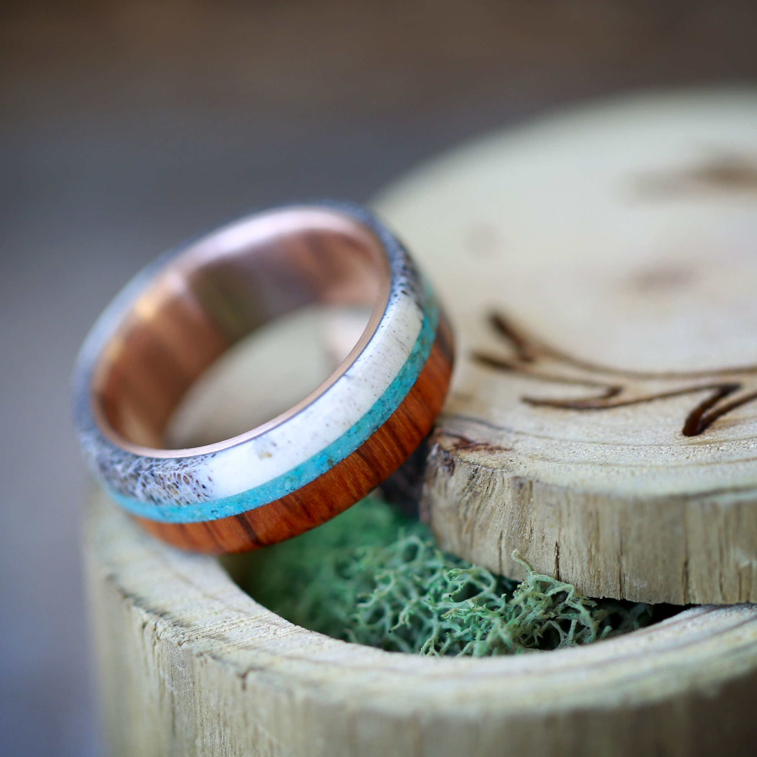 WOOD WEDDING BAND WITH ANTLER AND TURQUOISE STAGHEAD DESIGNS