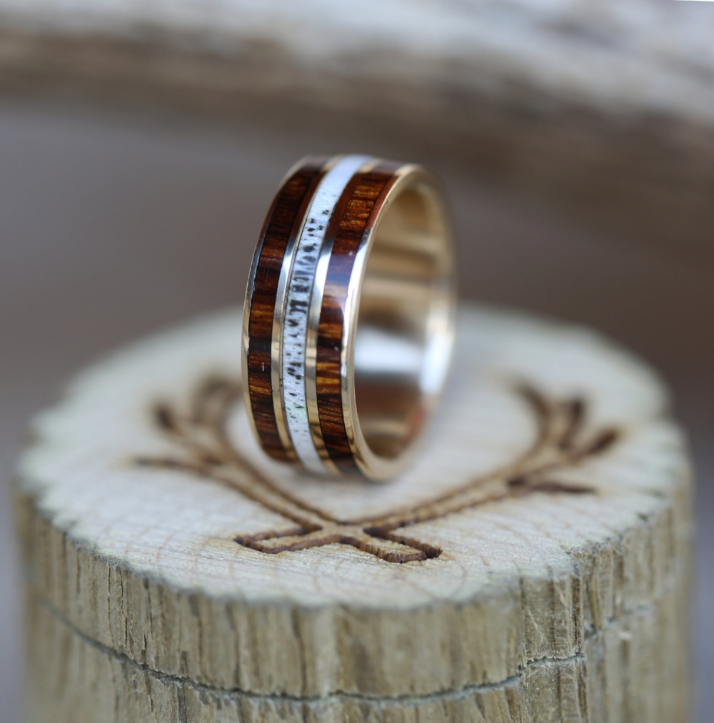 14k gold ring with ironwood and antler inlays available in 14k white rose or yellow gold men s wedding band