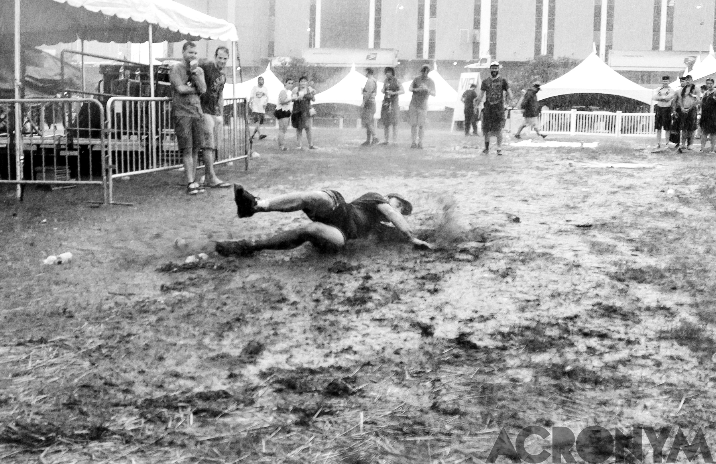 A MOPOP Patron Mud Sliding after Iron and Wine discontinued their set, pre-massive flooding. Photo: Acronym Creative Studio