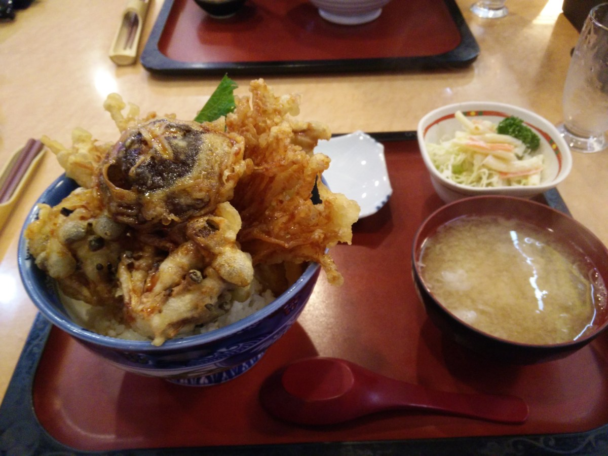 Mushroom tempura selection on rice at Kikushin restaurant in Yuzawa