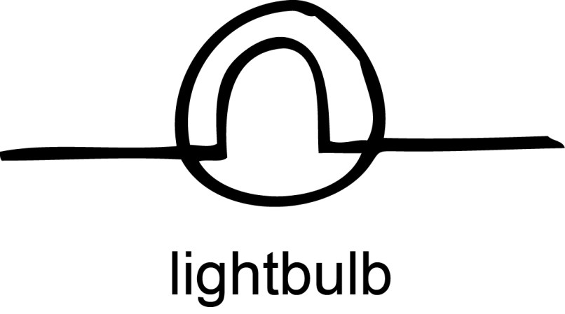 Old Fashioned Light Bulb Circuit Symbol Composition - Electrical ...