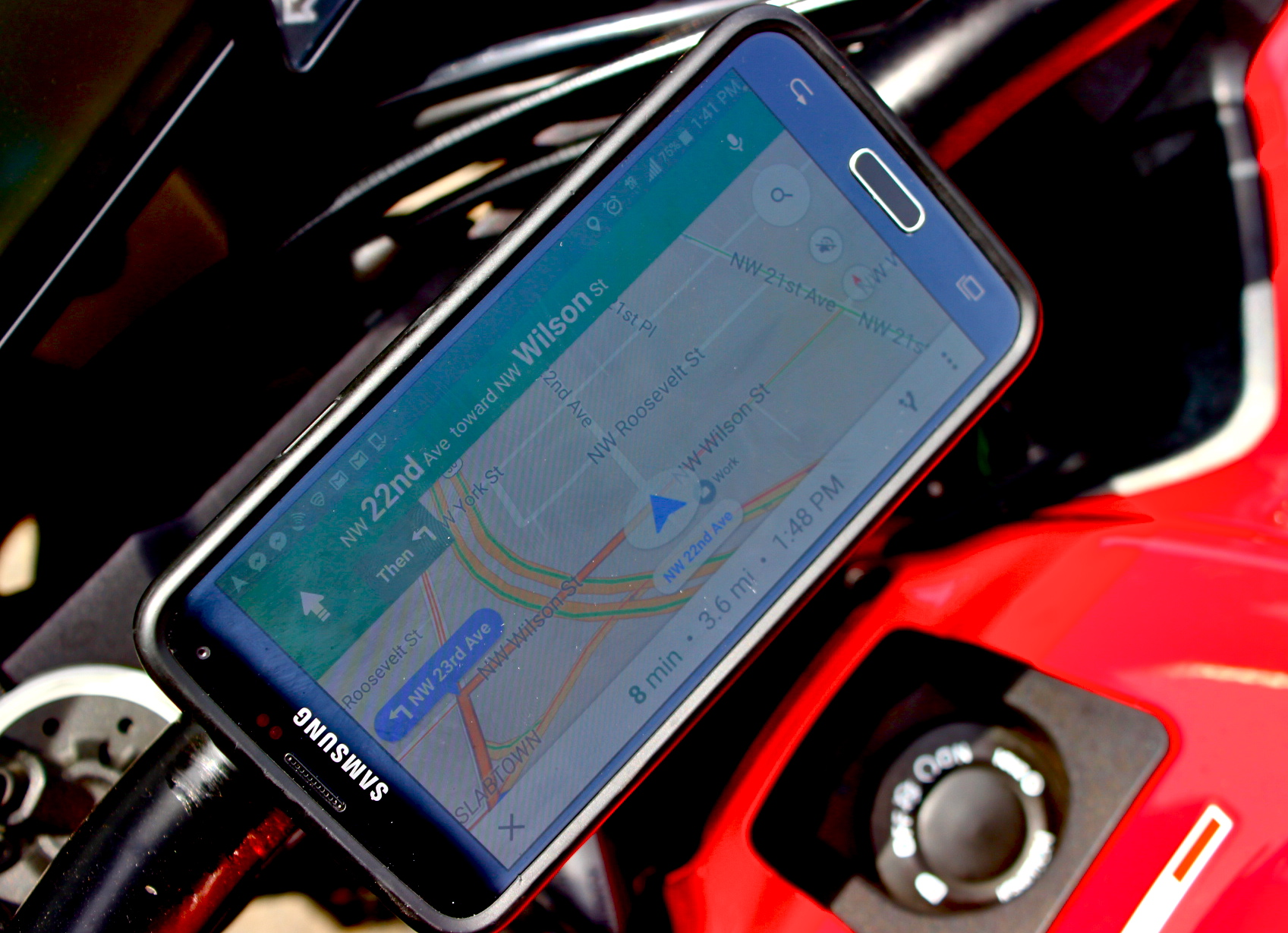 Although made for bicycle applications, once properly mounted on your motorcycle, the design is pretty fantastic for GPS application usage of your smartphone device.