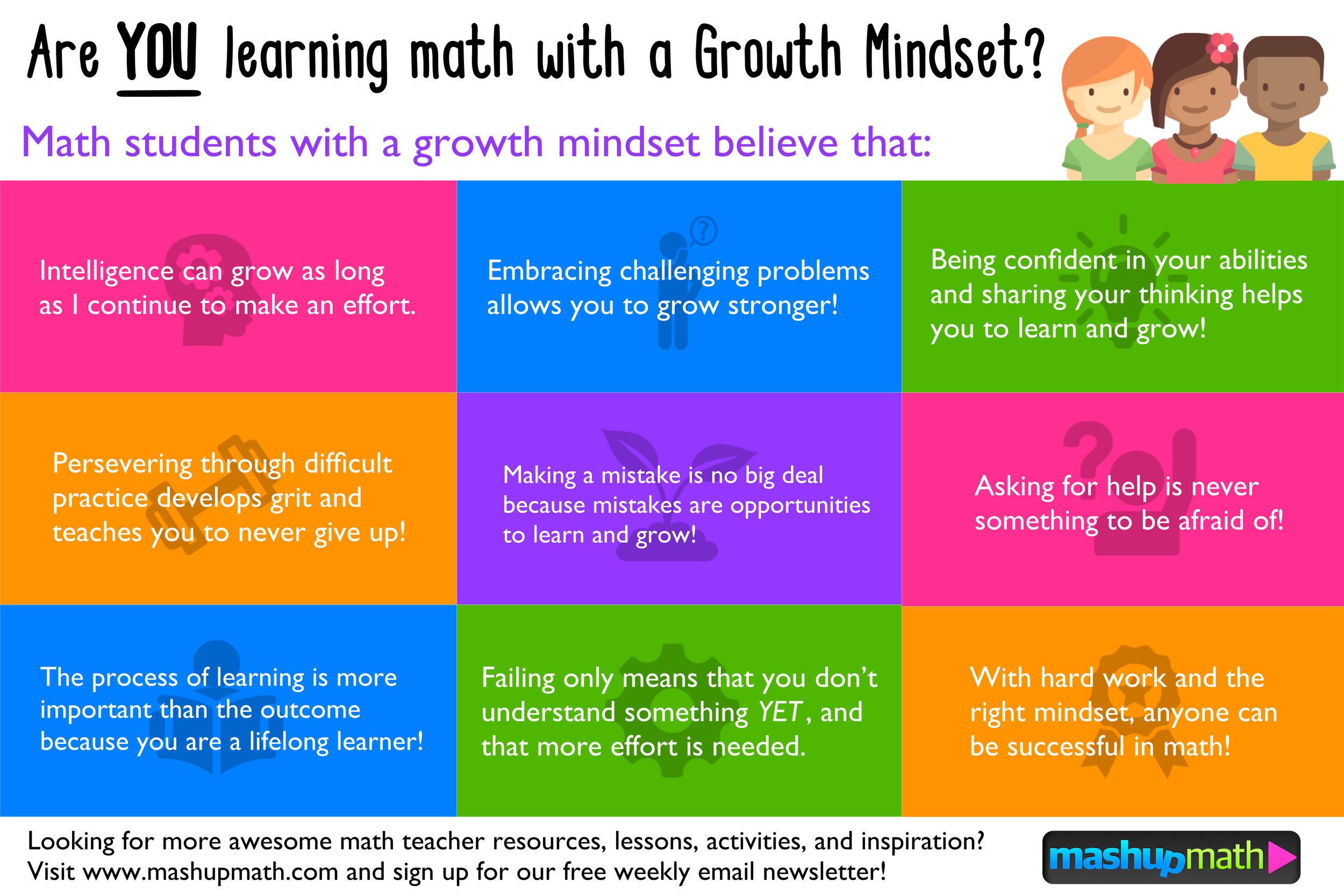 Get Your Free Growth Mindset Math Poster Middle School