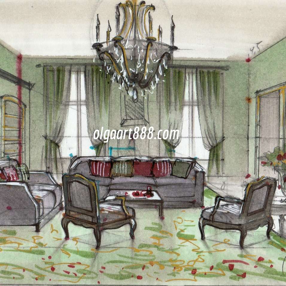 Interior design drawing with markers  my video courses  book  blog     IMG 20160314 0004 jpg